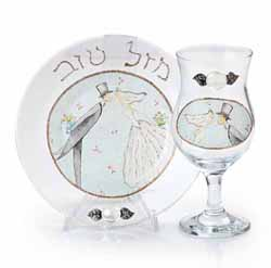 Wedding Kiddush Cup + Plate set
