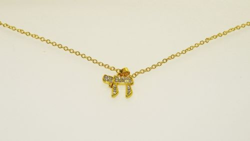 Necklace - Chai - Gold with inlaid stones