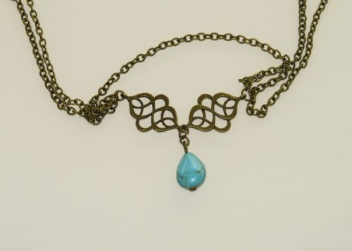 Necklace-Bronze-Aqua Stone