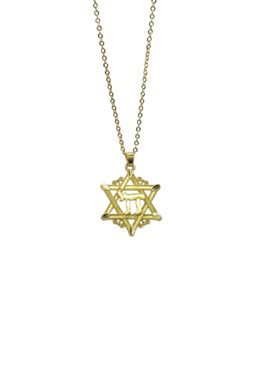 NECKLACE: Gold Chai in gold Star on Gold Chain