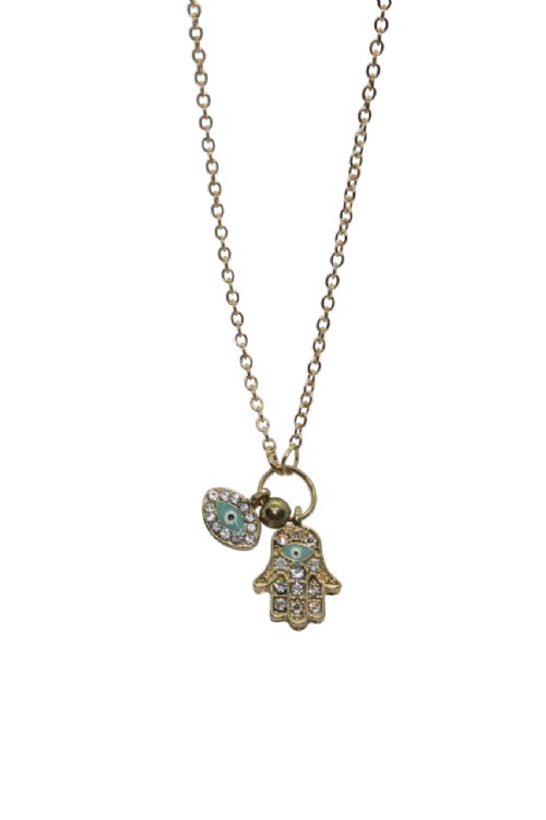 NECKLACE: Hamsa & Eye Charms on Gold Chain