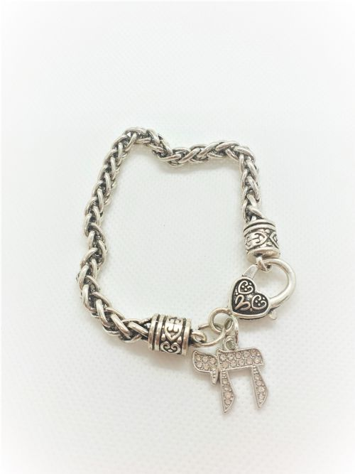 BRACELET:  Silver chai with inlaid stones and heart clasp