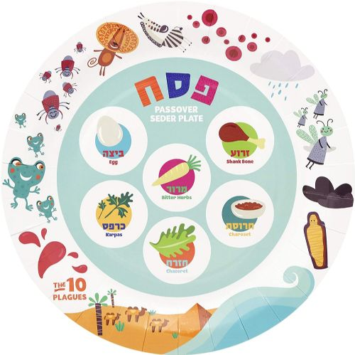 Disposable Round Seder Plate - the 10 Plagues
