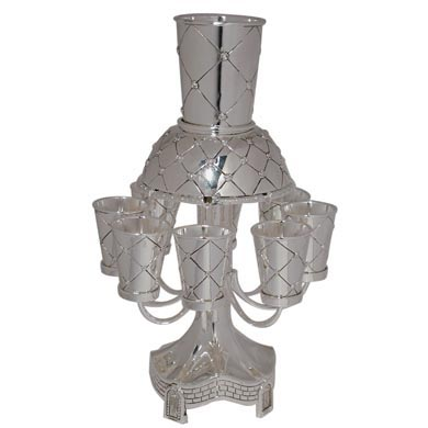 Wine Fountain - Silver X-Flower pattern