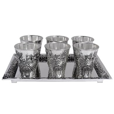 Liquor cups set - Jerusalem silver