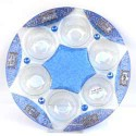 Seder Plate Blue Decorated Glass